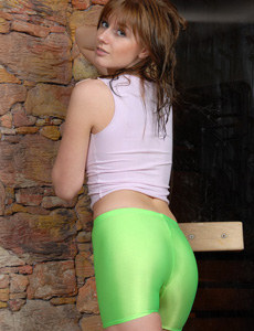 Short green spandex and tight top followed by the full sexy body nudity in the sauna