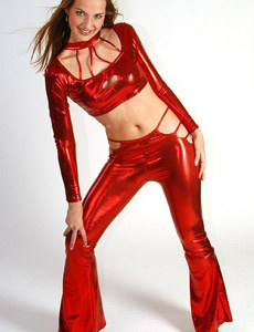 Sexy teen dressed in red shiny outfit
