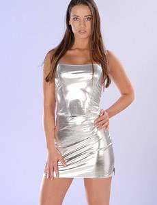 Beautiful sexy girl in shiny silver dress