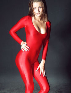 Baby covered by red spandex