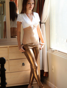 Bronze tight latex dresser