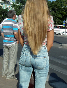 Candid girls dressed tight in jeans, spandex and pantyhose