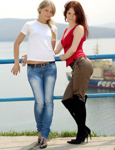 Wonderful girlfriends outside in tight pants and jeans
