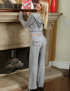Puffy nipples blonde wears tight grey sports suit