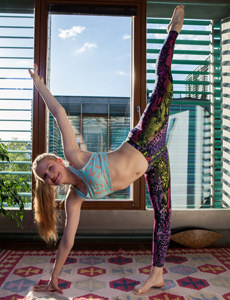 Yoga in colorful spandex with exciting nipples erected