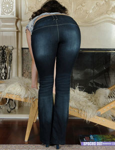Wonderful girl in tight blue jeans has hairy beaver