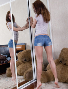 Sweet fresh teen with sexy ass in tight jeans shorts and hairy pussy