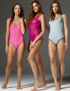 Three girls wearing tight colorful see-through suits