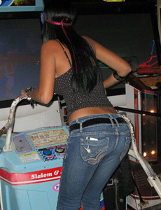 Amazing playful busty latin chick in tight blue jeans