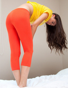 Orange spandex tight clothes sexy brunette